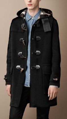 Classic Duffle Coat In Black Wool by Saint Laurent | duffle coat
