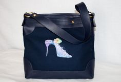 Blu fabric leather bag , with shoe design at the center in glitter by InSetArte on Etsy
