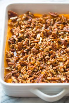 Paleo Sweet Potato Casserole - A Thanksgiving classic with a healthy twist without compromising on flavour! Easy to make with only nine ingredients needed! #GlutenFree #Paleo #Vegan #Thanksgiving #HealthyThanksgiving #FallRecipes #SweetPotatoes Paleo Sweet Potato Casserole, Sweet Potato Pecan, Appetizer Recipes, Snack Recipes, Cooking Recipes, Appetizers, Snacks, Thanksgiving Recipes, Fall Recipes