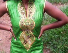 Handmade African Print Embroidered Dress