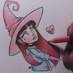 Drawing a fashion Little witch  Can u suggest her a name? • Desenhando uma bruxinha aleatória, comentem um nome que combine com ela?  Inspired by: @procrastiartist ♡