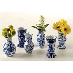 Dutch Blue Bud Vases, Set of 6