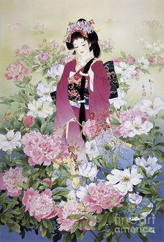 Haruyo Morita Solid-Faced Canvas Print Wall Art Print entitled Syakuyaku, None Japanese Painting, Chinese Painting, Chinese Art, Geisha Art, Art Asiatique, Wall Art Prints, Poster Prints, Wall Mural, Art Japonais