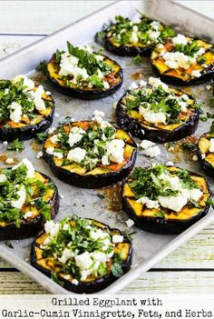 Grilled Eggplant with Garlic-Cumin Vinaigrette, Feta, and He.- Grilled Eggplant with Garlic-Cumin Vinaigrette, Feta, and Herbs - Garlic Recipes, Veggie Recipes, Vegetarian Recipes, Cooking Recipes, Healthy Recipes, Healthy Snacks, Veggie Food, Dinner Recipes, Recipes With Feta