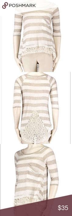 🎀ANTHROPOLOGIE🎀HAZEL🎀 Lace Panel High/Low Top 🎀ANTHROPOLOGIE🎀HAZEL🎀Striped Lace Panel High/Low Top in Grey Designer details abound from this stylishly striped top made from a soft knit with feminine lace panels on the back and hem. * Scoop neckline * Elbow-length sleeves * Single chest pocket * Rayon/Polyester * Dry clean only Anthropologie Tops Blouses