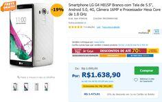 """Smartphone LG G4 H815P Branco com Tela de 5.5"""" Android 5.0 4G Câmera 16MP e Processador Hexa Core de 1.8 GHz << R$ 147501 >>"""