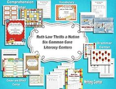 6 Common Core Literacy Centers for Ruth Law Thrills a Nation (Harcourt Trophies 2nd Grade).