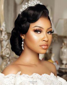Black Bridal Makeup, Bridal Makeup Looks, Bride Makeup, Wedding Hair And Makeup, Hair Makeup, Black Brides Hairstyles, Black Bridesmaids Hairstyles, Bride Hairstyles, Bridesmaid Hair