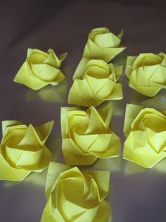 Image Detail for - Origami Paper Roses Flower Yellow Party Decoration Gift Handmade ...