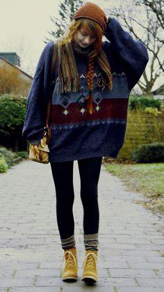 Nadia Esra - Beanie, Scarf, Bag, Sweater, Zara Socks, Shoes - Hello sweater, hello chilly weather