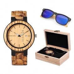 be4b24f284ff BOBO BIRD Classic Men Real Wood Watch and Wooden Sunglasses in Gift Box Set   Sneakers