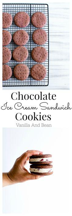 Chocolate Ice Cream Sandwich Cookies #Vegan | Vanilla And Bean