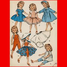 """Vintage 1950's 18"""" Doll Clothes Sewing Pattern Revlon Dress Coat Hat - Nifty fifties wardrobe pattern for an 18-inch doll. These could probably be tweaked to fit the American Girl dolls."""