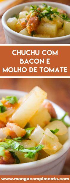 Receita de Chuchu com Bacon e Molho de Tomate - prepare esse prato básico para o almoço ou jantar da semana da família. #receitas