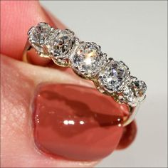 Edwardian Five Stone Diamond Ring in 18k and Platinum - Victoria Sterling Antique Jewelry