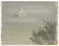 Clarice Beckett Not titled (seascape with yacht) Australian Painting, Australian Art, Seascape Paintings, Art Paintings, Art For Art Sake, Sailboats, Natural World, Female Art, Still Life