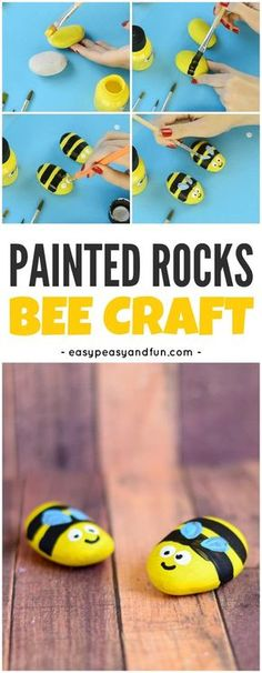 Cute Bee Painted Rocks Craft for Kids