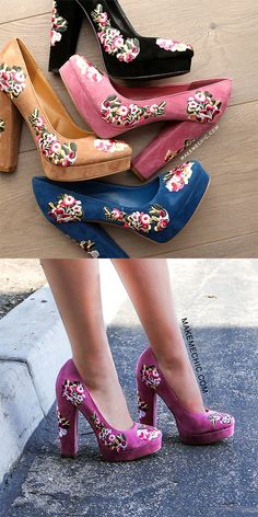 """Add a super trendy piece to your look with the Platform Round Toe Floral Pumps! Features a round toe, faux suede upper, and a floral embroidered pattern. Finished with a 5.25"""" chunky heel with a .75"""" platform. Finish off the look with a long sleeve hoodie and skinny jeans for a casual but trendy ensemble."""