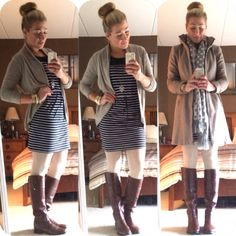 nautical winter - stripes, cable tights, tory boots & a bun @mbrauns