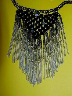 Vintage Mesh Style Chain Necklace In Black by NANDISNEEDFULTHINGS