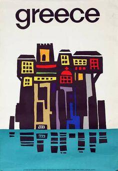 DP Vintage Posters - Greece Building Scene Original Greek Travel Poster