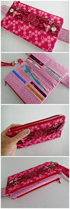 Della Wallet Clutch sew-along video The perfect wallet sewing pattern? Space for cards, 2 pockets for notes etc, 2 zipper pockets for coins and even holds a phone! Optional wrist strap AND it comes with a full step by step sewing video. It's a winner! Purse Patterns, Sewing Patterns Free, Free Sewing, Sewing Projects For Beginners, Sewing Tutorials, Sewing Hacks, Sewing Tips, Bag Tutorials, Sew Wallet