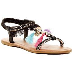 Legend Footwear Alivia Fringe Sandal ($15) ❤ liked on Polyvore featuring shoes, sandals, black, colorful sandals, open toe sandals, black open toe sandals, multi colored sandals and black t strap sandals