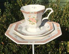 Nikko China bird feeder - tea cup feeder - garden accessory - upcycled bird feeder - butterfly feeder - humming bird feeder - tea cup totem