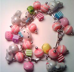 MEGA Hello Kitty Kawaii Cluster Charm Bracelet. $20.00, via Etsy.