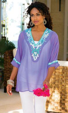 a08821924ac Soft Surroundings: Shelf bra cami, Beaded tunic, Classic jean, Remy  earrings,