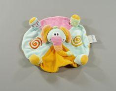 Doudou plat rond éléphant velours multicolore Nattou
