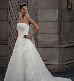 Chapel Train Strapless Wedding Dresses A Line