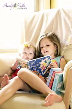 Sibling Photos / Reading / Sisters / Children's Photography- this will be MAC with our new one! She is so ready and going to be amazing with this lil angel!