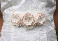 Bridal Sash,  Wedding Sash Belt, Ivory and Blush Fabric Flower and Lace, Ivory Ribbon Sash by MyVintageWeddingAust on Etsy