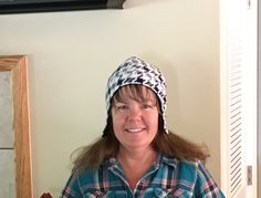 Houndstooth reversible fleece hat with ear flaps