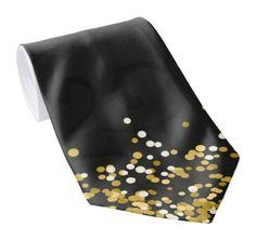 Black Neck Tie With Ornaments and Gold Dots. . . . . . . . . . #blacktie #classytie #goldtie #necktie #tie #ties #menfashion #menaccessories #giftforhim #giftformen #giftforman #zazzle #celebrationgi