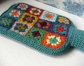 Granny Square Hottie Cover / Hot Water Bottle Cover Crochet Wool with a Sage / Lichen / Sea Blue-Geen Boarder.