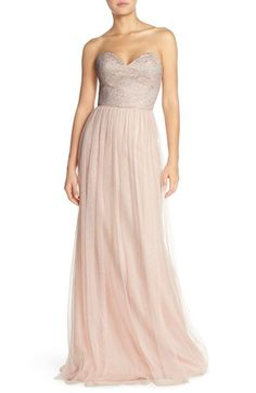 Hayley Paige Occasions Strapless Metallic Lace & Net Gown available at…