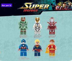 6pcs/Lot Building Blocks Superhero  MK 47 MK39 MK33 Space Iron Man Hyperion Captain America Brick Toy  0244-0249 #Affiliate