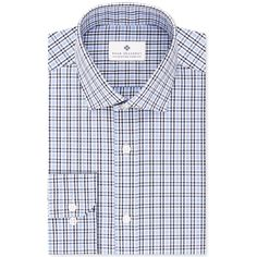 Ryan Seacrest Distinction Men's Slim-Fit Non-Iron Blue Check Dress Shirt, found on Polyvore featuring polyvore, men's fashion, men's clothing, men's shirts, men's dress shirts, med blue, mens slim shirts, mens blue dress shirt, mens slim fit dress shirts and mens dress shirts