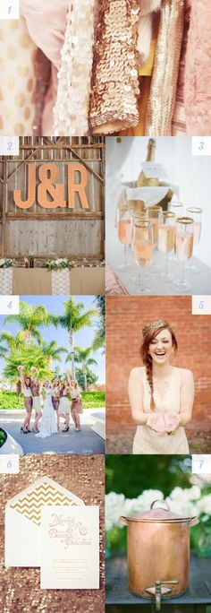 I can see this color being an element is @Reisa Florence Traboulay's or Melissa's wedding! brass, copper and bronze wedding details #rosegold #sparkle #shine