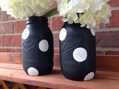 Black and white painted mason jar, Halloween mason jar