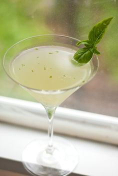 [ Cocktail Recipe: Basil Gimlet ] Using basil leaves, gong, lime, agave nectar to taste. ~ from CookieAndKate.com