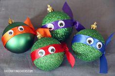Teenage Mutant Ninja Turtle Glitter Christmas Ornaments
