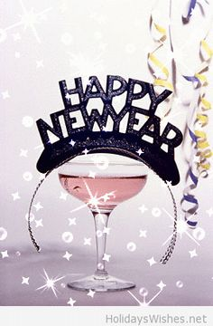 Happy New Year pink cocktail, black tiara, streamers happy-new-year-gif-animation Happy New Year 2014, Happy New Year Images, Year 2016, Happy 2015, New Year Wishes, New Year Greetings, Quotes About New Year, New Year Celebration, Nouvel An