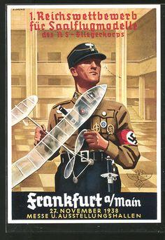 old postcard: AK Frankfurt a. Main, 1, Reichswettbewerb für Saalflugmodelle des NS-Fliegerkorps, Korpsführer