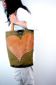 CANVAS BUCKET BAG Military Green with Large Tan by NeroliHandbags