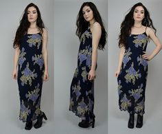 Monica | Medium | 1990s Vintage Bold Floral Print Slinky Slip Dress 90s Maxi