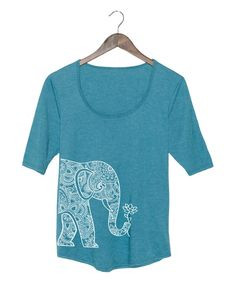 Look at this Heather Turquoise Elephant Three-Quarter Sleeve Tee on #zulily today!