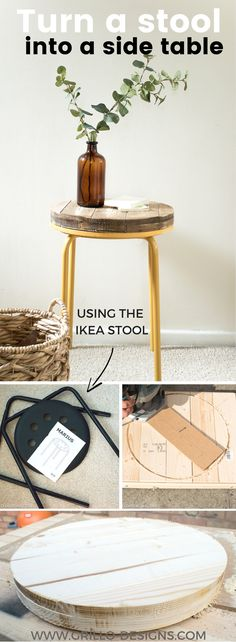 An easy tutorial on how to upcycle the IKEA MARIUS stool into a rustic industrial side table - perfect as a nightstand for a small spaced bedroom!